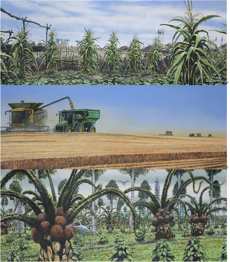 A triptych of agriculture and changes in crops over time due to climate change