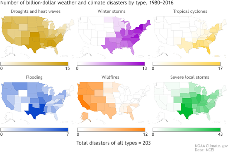 Maps show which states have the most of different types of disasters, such as tropical storms and wildfires