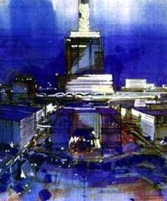 Drawing of hotel surrounded by businesses.