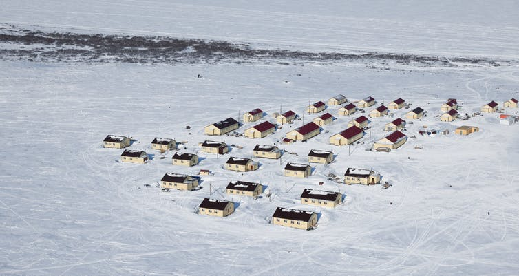 An aerial view of the village in a permafrost region of Russia.