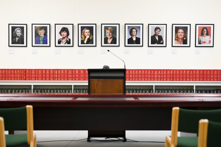 Pictures of former and current female Labor MPs at Parliament House in Canberra.