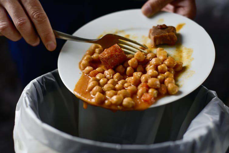 fork scrapes food off plate