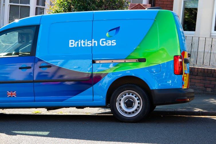 blue van on street