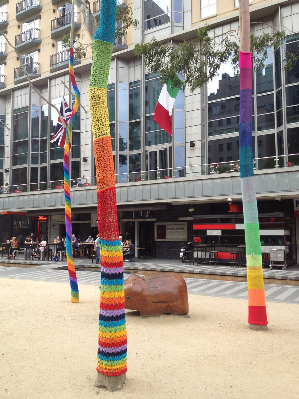 Christmas Yarn Bombing.Knit One Purl One The Mysteries Of Yarn Bombing Unravelled