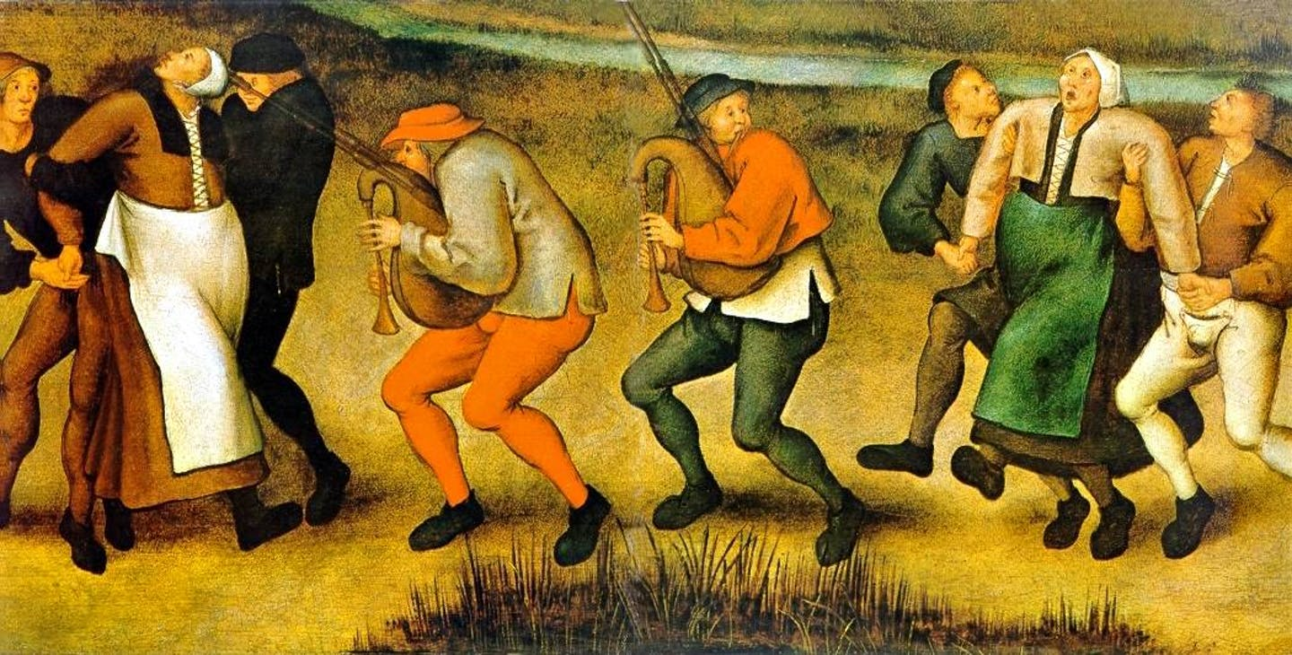 A painting of people carrying other people as they dance uncontrollably.