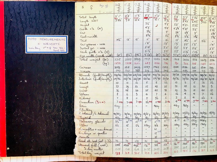 Old notebooks containing measurements