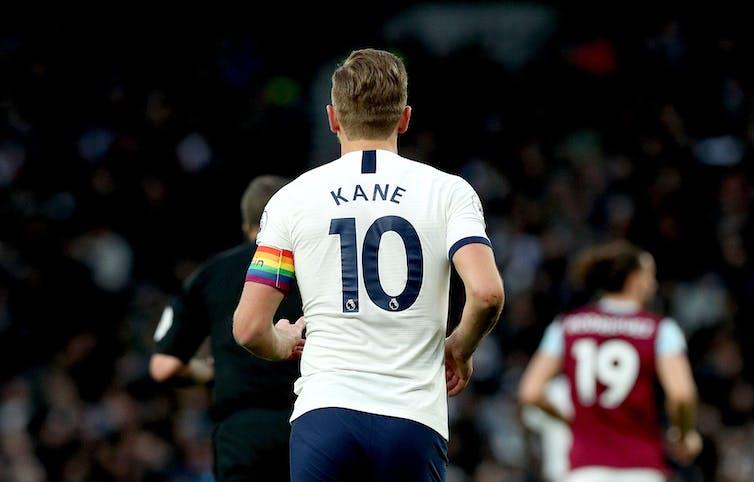 Tottenham Hotspur's captain Harry Kane wears a rainbow captain's armband during the Premier League match at the Tottenham Hotspur Stadium, London