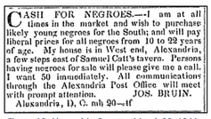 A domestic slave trader's newspaper ad from 1844 says 'CASH FOR NEGROES.'