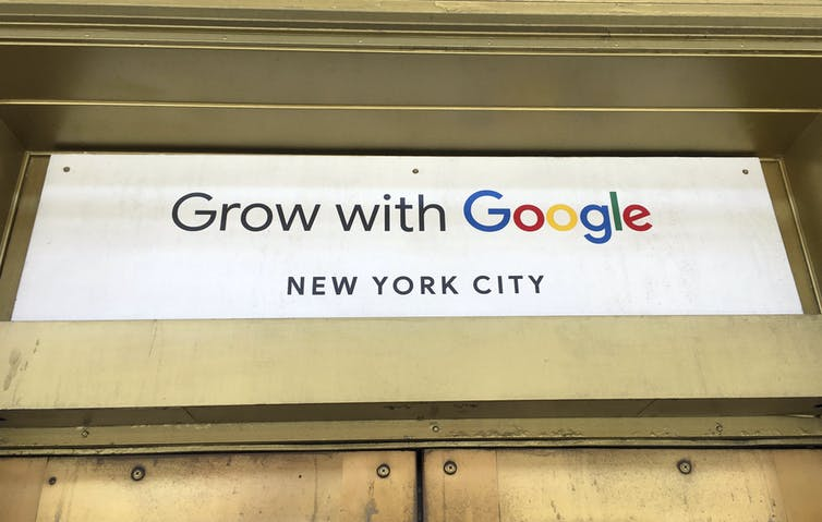 Google signage says 'grow with Google'