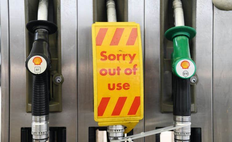 Petrol buzzer, which displays a 'Sorry out of use' sign.