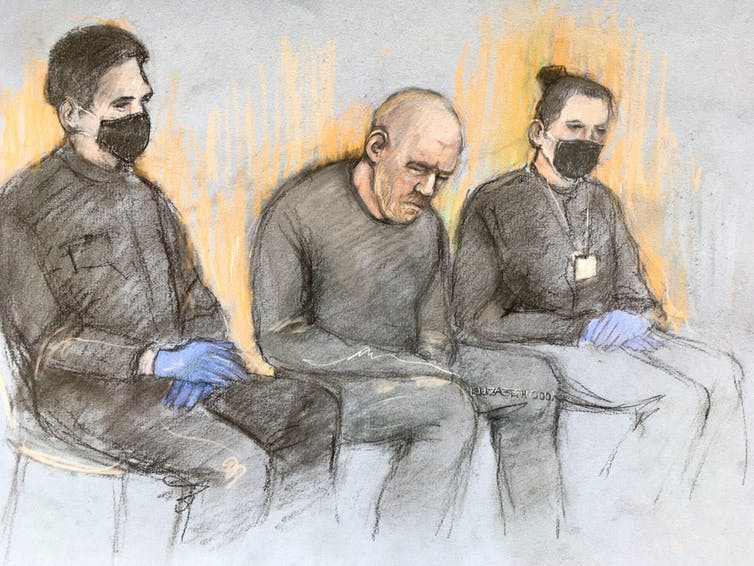 Wayne Couzens' drawing of a court artist between two police officers.