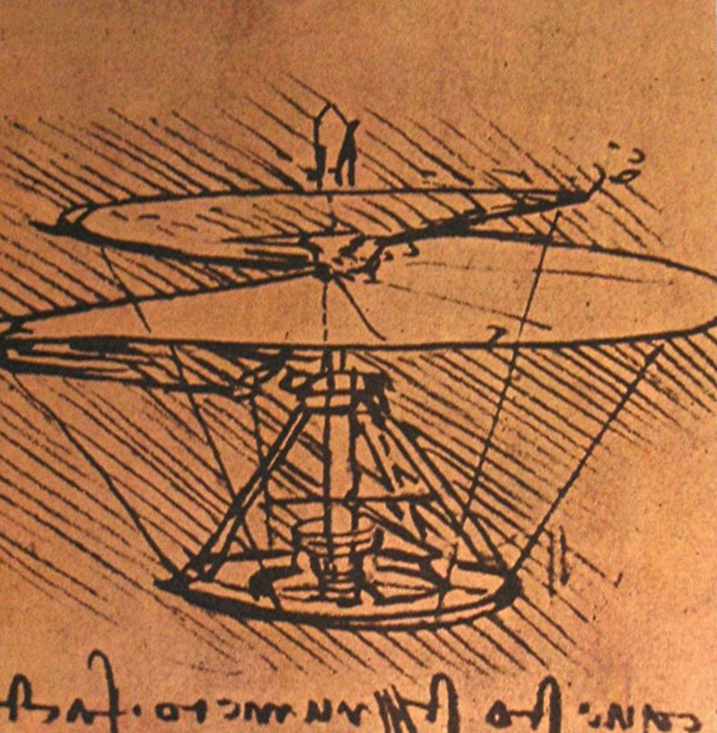 A sketch of a human–powered helicopter with a large spiral propeller on top.