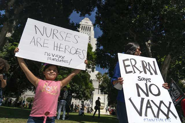 Nurse protest against vaccination mandates