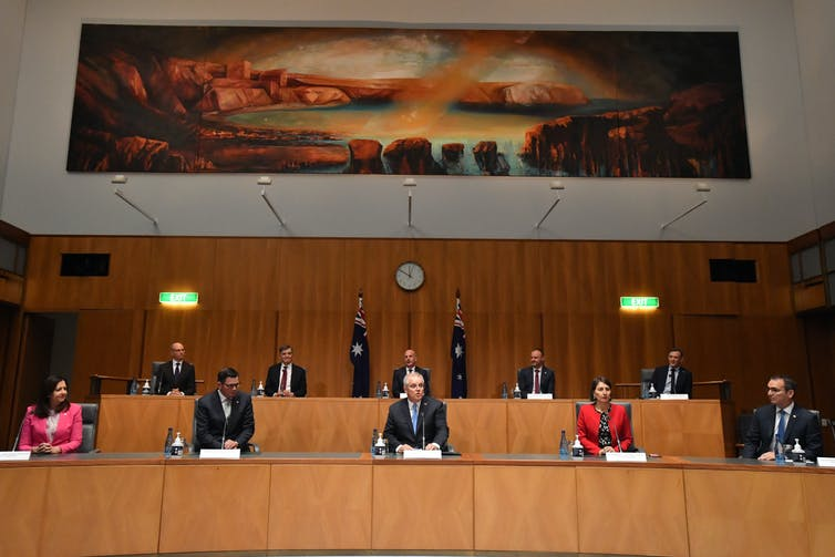 Australian state and territory leaders with Prime Minister Scott Morrison at a national cabinet press conference in Canberra, December 11, 2020. The AFR power list for 2021 has demoted the Prime Minister to second position.