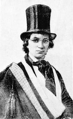 Illustration of Ellen Craft dressed in men's clothing.