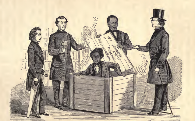 Illustration of Henry Box Brown being let out of his box.