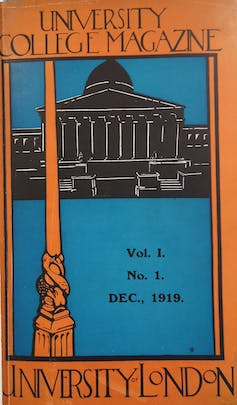 An orange, blue and black cover of the December 1919 issue of University College Magazine
