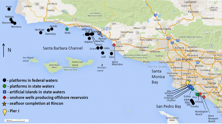 Map of California offshore energy operations.