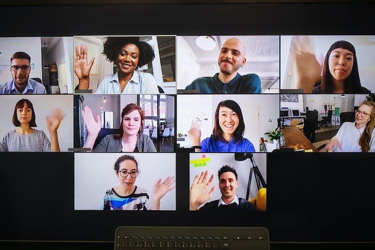 Ten people on a desktop computer screen are having a work meeting.