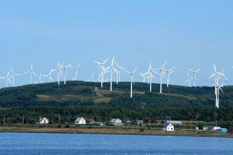 Wind Turbines On A Mountain