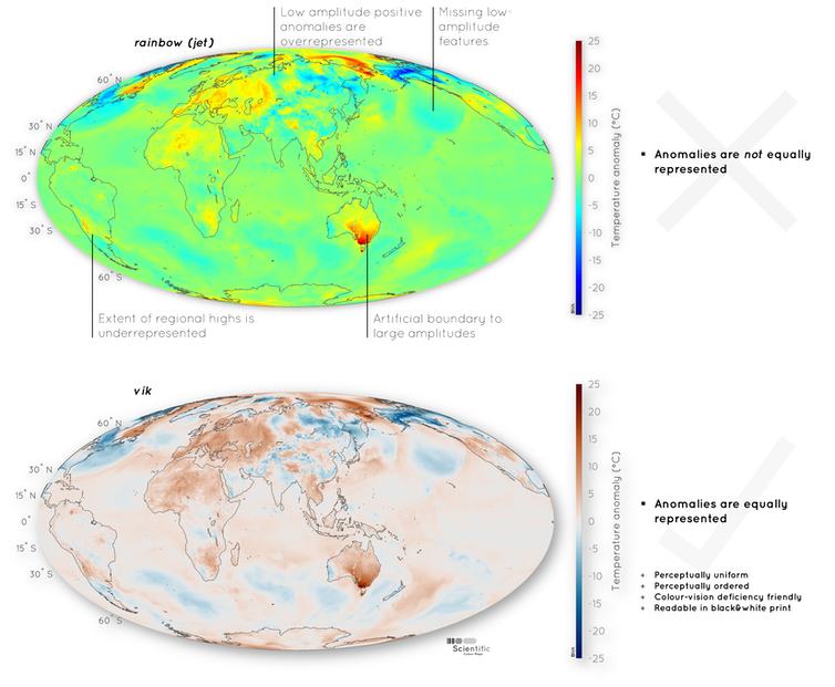 Two maps of the Earth's surface displaying temperature anomaly data with annotations