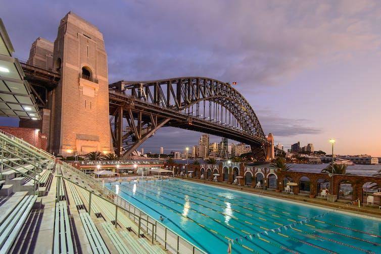 A pool lies under the Sydney Harbour Bridge