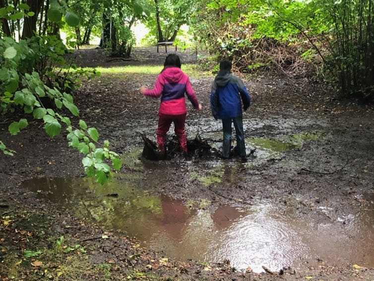 Children seen from the back walking through mud puddles.
