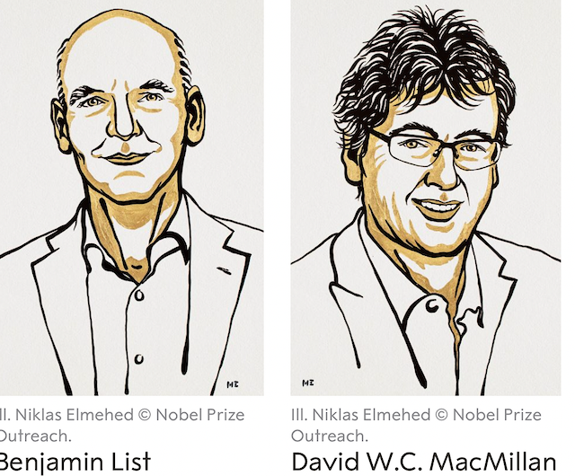 Drawings of the 2021 Nobel Prize winners of Chemistry.