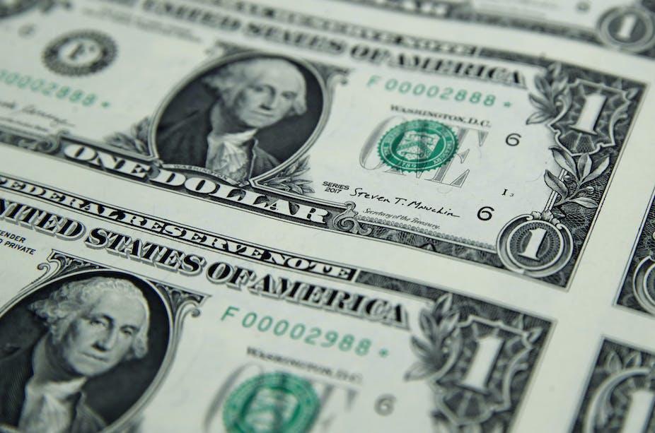 A print run of one dollar bills.