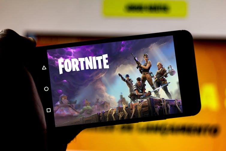 moble phone screen showing Fortnite game
