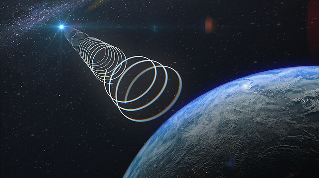 Artist's impression of the transient radio signal travelling towards Earth.
