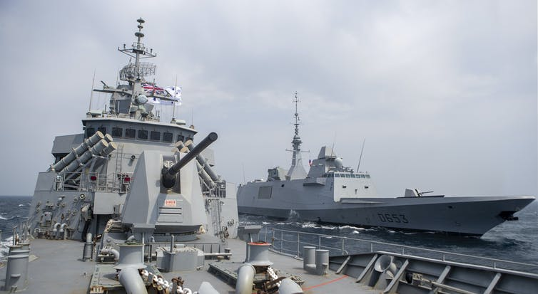 Two naval ships