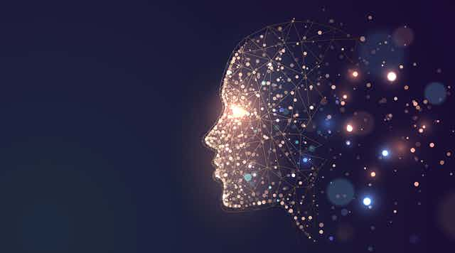 Illustration of a face with lights illustrating brain networks.