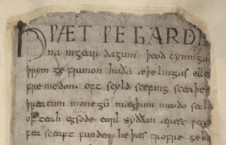 A fragment of the Beowulf manuscript