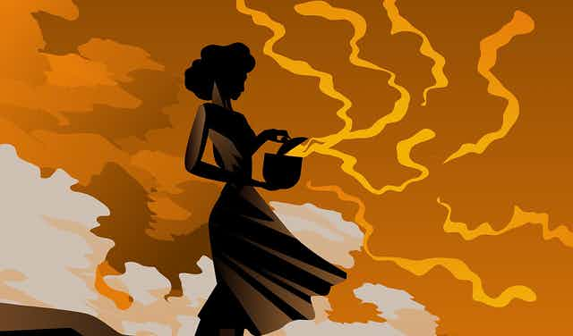 Cartoon silhouette of woman opening box with orange gas emerging