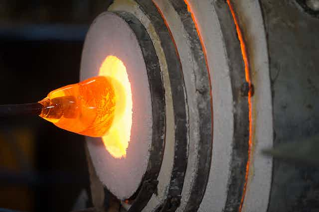 Blown glass in a kiln