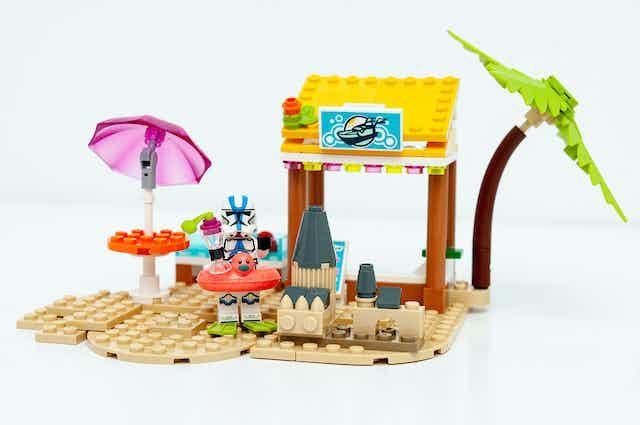 Lego stormtrooper on a lego beach