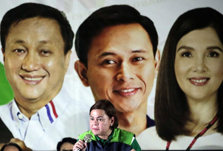 Sarah Duterte at a campaign rally in 2019.