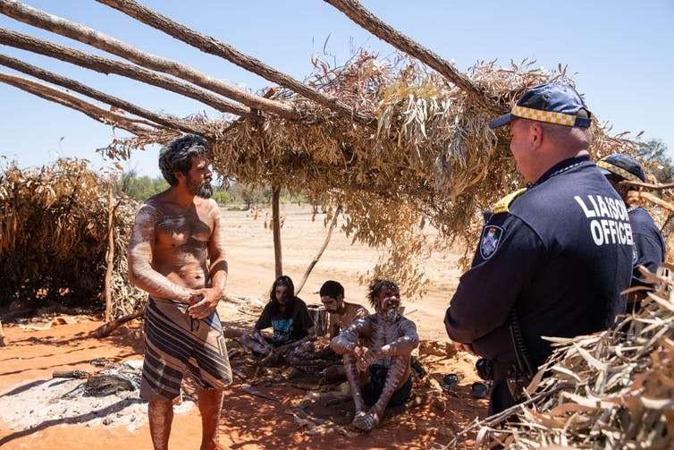 Wangan and Jagalingou Traditional Owners maintaining presence at the Carmichael mine in central Queensland.