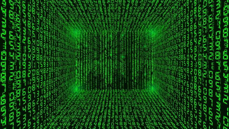 Image of a binary code background of matrix green.