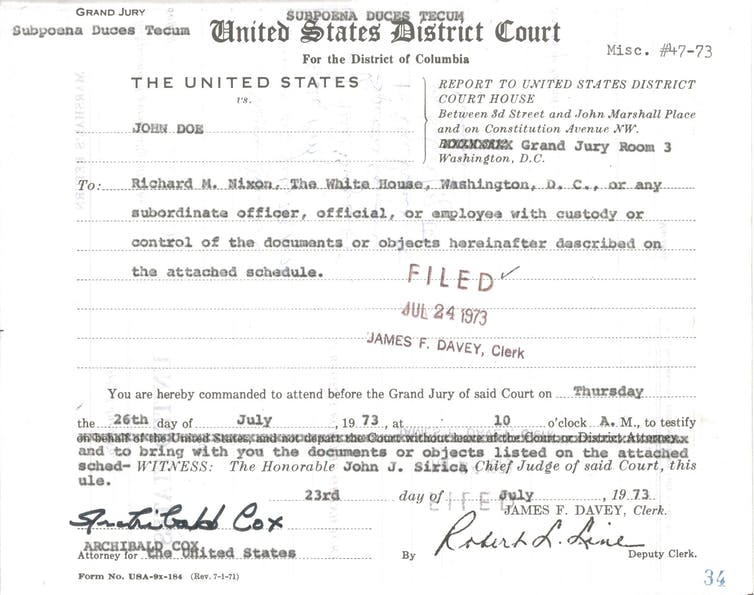 The first page of the grand jury subpoena to President Nixon in the Watergate case.