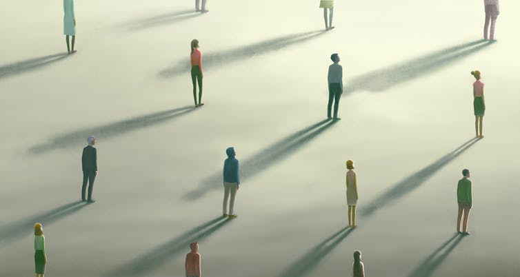 Illustration of people standing part from each other.