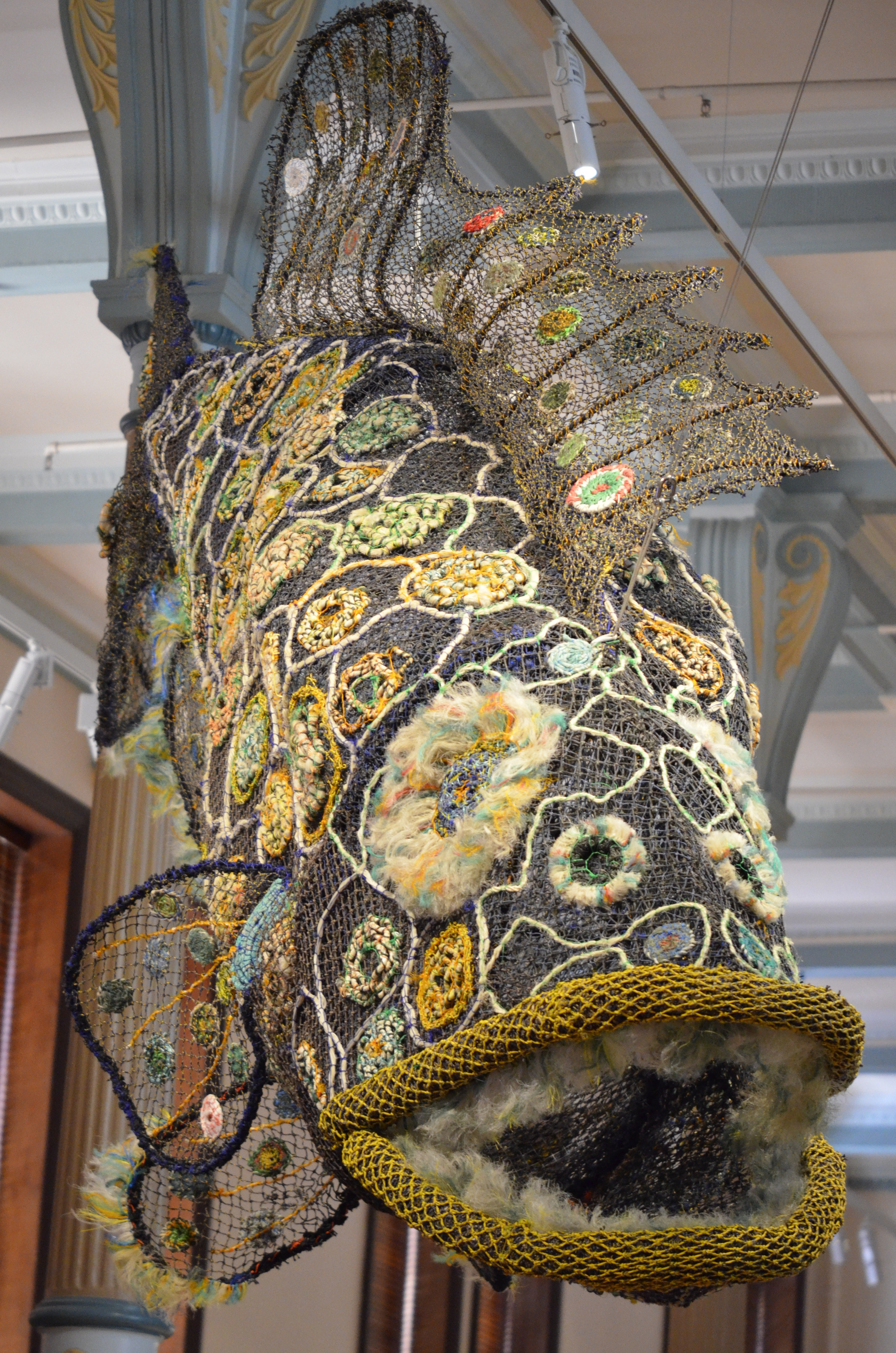 Ghostly art, made from debris that menaces marine life