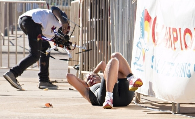When Drones attack. Triathlete discovers the hazards of drones in public spaces