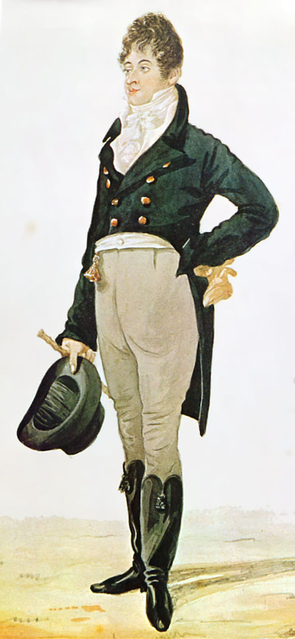 4cd50fa798dcc Caricature of Beau Brummell, print by Robert Dighton, 1805. Wikimedia  Commons. The earliest top hat ...