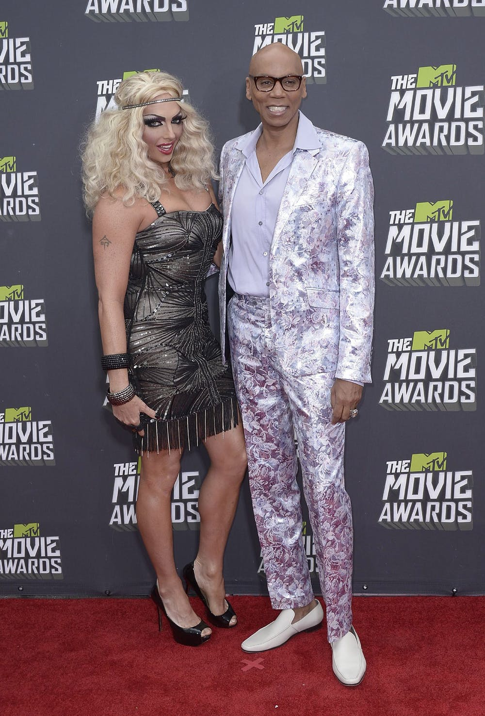 RuPaul (R) and drag personality Alyssa Edwards at 2013 MTV Movie Awards in  Culver City, California. EPA/ Paul Buck
