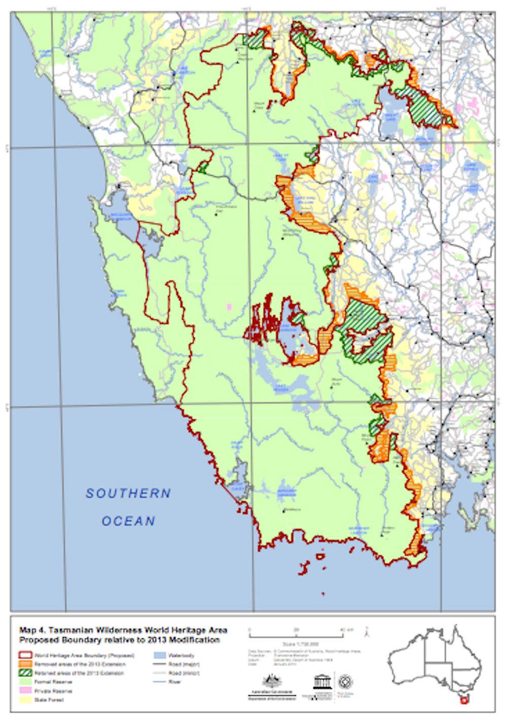 Tasmanias forests to remain under world heritage tasmanias world heritage area and extension screenshot from department of environment publicscrutiny Images