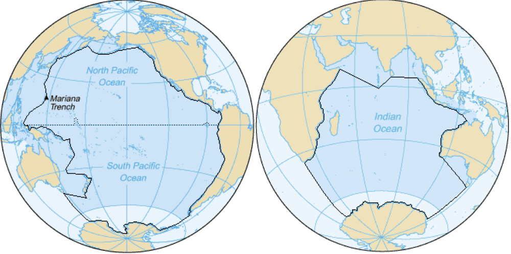 Redrawing the map could reveal ocean garbage patch culprits conventional boundaries of the pacific left and indian right oceans as defined by the international hydrographic office wikipedia gumiabroncs Images