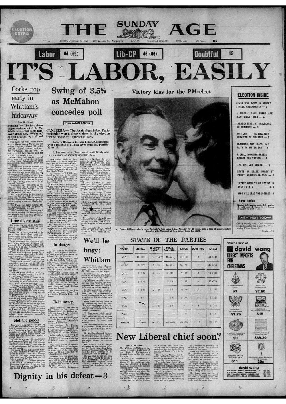 From Whitlam to Abbott, Australian Prime Ministers' first