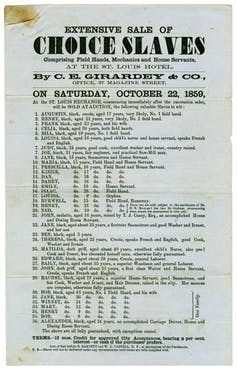 Extensive Sale of Choice Slaves, New Orleans 1859, Girardey, C.E. Natchez Trace Collection, Broadside Collection, Dolph Briscoe Center for American History
